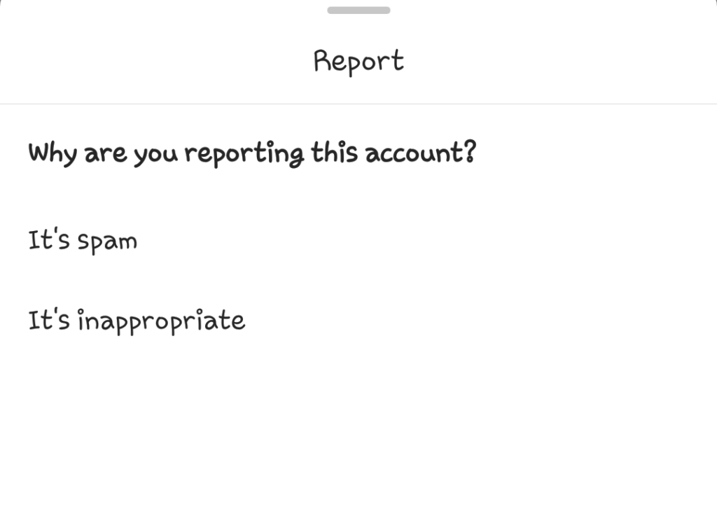 Instagram account reporting